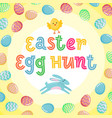 easter egg hunt poster with jumping banny vector image vector image
