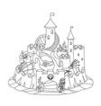 flat line fantasy castle sand sandcastle vector image
