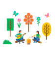 forest camping couple near campfire with guitar vector image