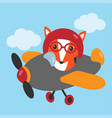 fox flies on airplane vector image