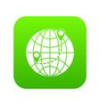 globe icon digital green vector image vector image