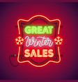 great winter sales christmas neon sign vector image