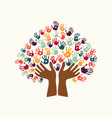 hand print ethnic tree symbol of culture diversity vector image vector image