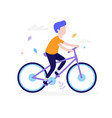 happy boy riding bicycle outdoors in park vector image vector image