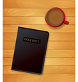 Holy Bible and Coffee on Wood vector image vector image