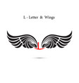 l-letter sign and angel wingsmonogram wing logo vector image