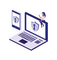 laptop computer with security shield vector image vector image