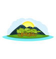 nature landscape banner horizontal cartoon style vector image vector image
