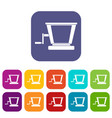 old grape juicer icons set flat vector image vector image