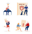 patent law set with people authors create mental vector image