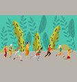 people running in forest running in nature vector image