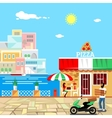 Pizza restaurant building with terrace vector image vector image