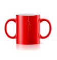 Red mug with two handles vector image