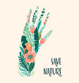 save nature earth day template design vector image