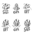 Set of black and white graphic gift box logo vector image vector image