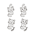 Set of cute cat characters Satisfied fed kittens vector image