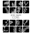 Set of flat floral icons vector image vector image