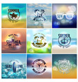 set of summer travel and vacation designs vector image