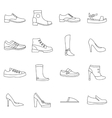 Shoe icons set in outline style vector image vector image