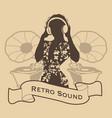silhouette dj woman retro style vector image