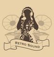 silhouette of dj woman retro style with vector image