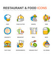 simple set food line icons for website vector image