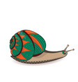 snail green and orange invertebrate animals of vector image