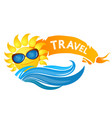 sun and waves for travel vector image vector image