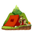 two kids camping out in the mountain vector image vector image
