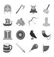 Vikings set icons in monochrome style Big vector image vector image