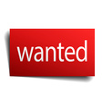 wanted red paper sign on white background vector image vector image