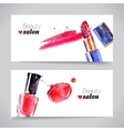 Watercolor cosmetics banner set beauty vector image