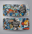 winter sport hand drawn doodle banners set vector image vector image