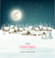 Winter village night background vector image