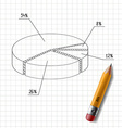 wooden pencil and graph drawn on a sheet of vector image vector image