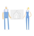 young couple holding a draft of its future home vector image