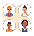 young people round icons vector image