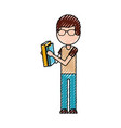 school boy holding book knowledge learn study vector image