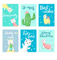 alpaca christmas greeting cards templates vector image vector image