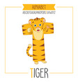 alphabet letter t and tiger vector image vector image