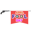 april fools day flag and gun toy background vector image vector image