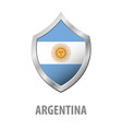 argentina flag on metal shiny shield vector image