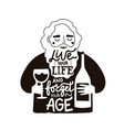 black white with old bearded man wineglass vector image vector image