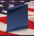 blue paper banner on top american flag vector image