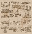 boats - an hand drawn pack vector image