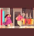 body positive shopping composition vector image