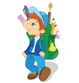 boy with backpack goes to school vector image vector image