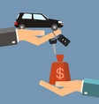 car rental or sale concept hand of agent hold car vector image vector image