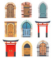 cartoon gates and doors wooden and stone entries vector image
