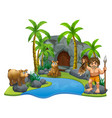 caveman and two bears by the river vector image vector image